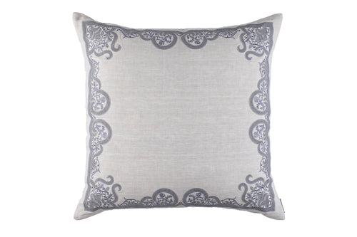 NINA EURO PILLOW LT GREY LINEN/LT GREY EMBROIDERY/MEDIUM GREY LINEN APPLIQUE 28X28