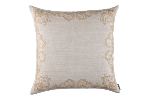 NINA EURO PILLOW LT SAND LINEN/GOLD EMBROIDERY/DK SAND LINEN APPLIQUE 28X28