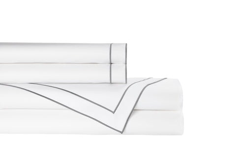 GUILIANO KING SHEET SET 300TC WHITE COTTON SATEEN / PEWTER EMBROIDERY