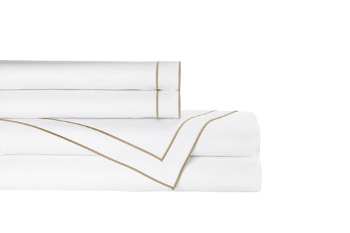 GUILIANO QUEEN SHEET SET 300TC WHITE COTTON SATEEN / GOLD EMBROIDERY