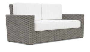 MONACO 2 SEAT SOFA [Frame Only] Matte Charcoal Aluminum & Stone Gray All-Weather Wicker