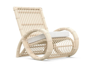 PALOMA CLUB CHAIR [Frame Only] Matte White Aluminum & Almond All-Weather Wicker
