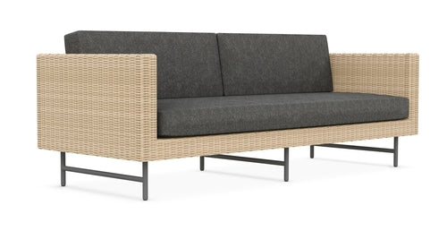 SONOMA 3 SEAT SOFA [Frame Only] Matte Charcoal Aluminum & Natural All-Weather Wicker