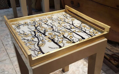 Ivory Vine Acrylic Square Tray With Handles