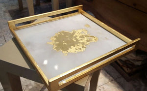 Ivory Gold Ink Blot Acrylic Square Tray With Handles