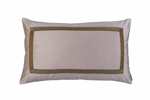 Caesar Lg. Rect. Pillow Blush Velvet With Gold Basketweave Machine Embroidery 18X30