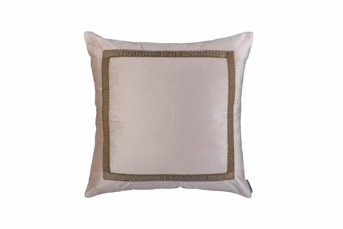Caesar Sq. Pillow Blush Velvet With Gold Basketweave Machine Embroidery 24X24