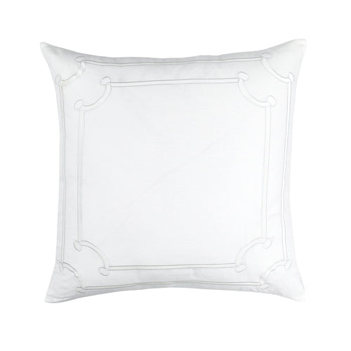 Jana Euro Pillow White Linen/ White Matte Velvet Applique 28X28