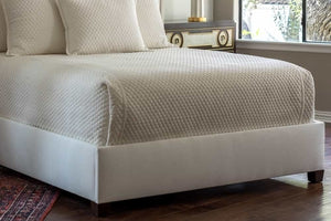 "Laurie 1"" Diamond Quilted Queen Coverlet Ivory Basketweave 96X98"