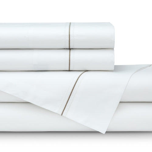 Bella Queen 300Tc White Cotton Percale Double Hemstitch - Raffia Satin Embroidery Sheet Set