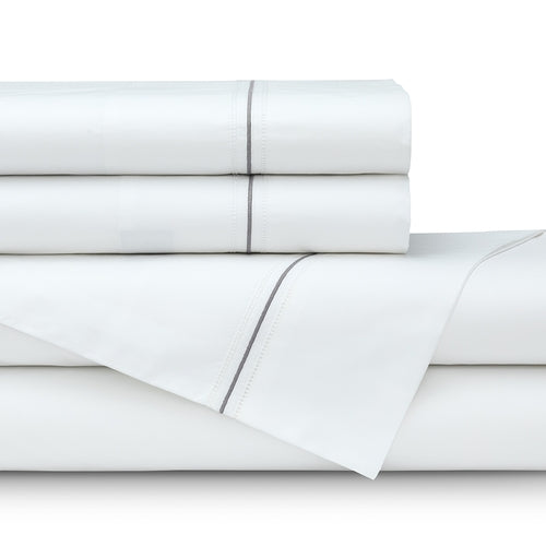 Bella Queen 300Tc White Cotton Percale Double Hemstitch - Silver Satin Embroidery Sheet Set