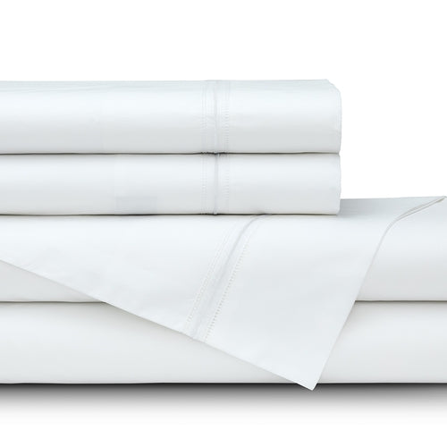 Bella Queen 300Tc White Cotton Percale Double Hemstitch - White Satin Embroidery Sheet Set