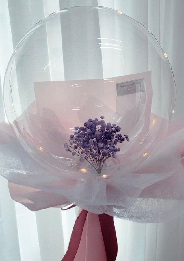 Purple Baby's Breath in balloon flower bouquet Summers Winter Florist