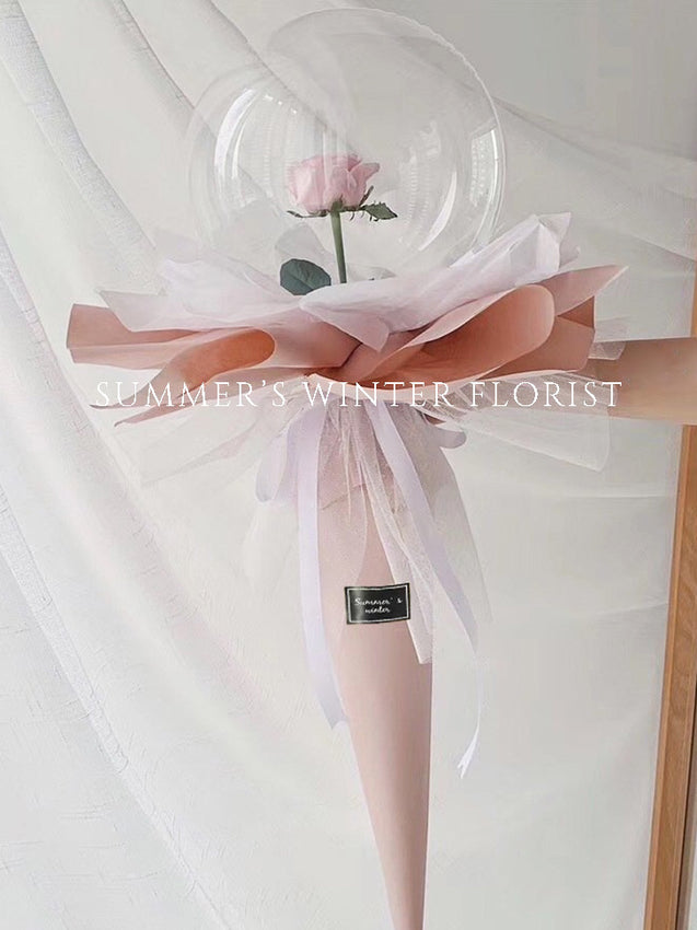 Pink Rose Balloon Flower [ PINK CONE WRAPPED ]