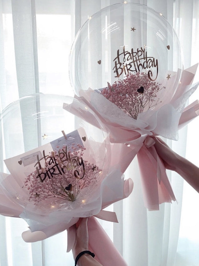 PINK BABY'S BREATH BALLOON BOUQUET [ LARGE ]