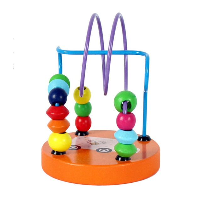 Kids Montessori Educational Math Toy Wooden Circles Bead Wire Maze Roller Coaster Boy Girls Toddler Wooden Toy For Children Gift