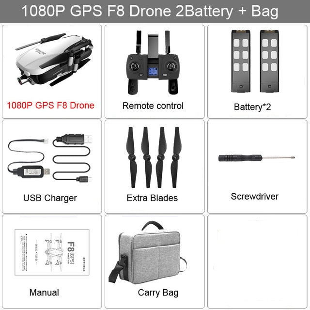 F8 GPS Drone With 2K 1080P HD Camera Two-Axis Anti-Shake Self-Stabilizing Gimbal RC Drone WIFI FPV Foldable Quadcopter Brushless