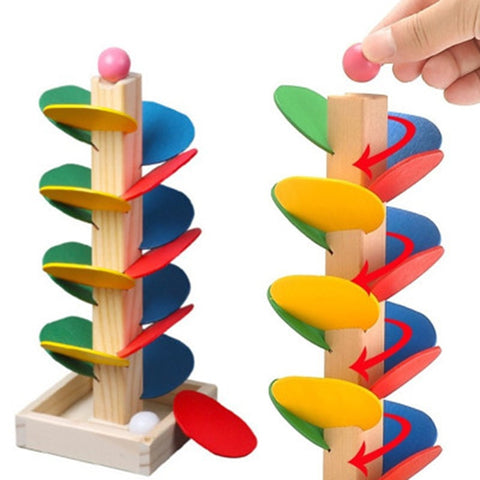 Montessori Educational Toy Blocks Wooden Tree Marble Ball Run Track Game Baby Kids Intelligence Early Juguetes Educativos
