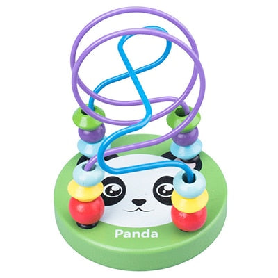 Boys Girls Montessori Wooden Toys Wooden Mini Circles Beaded Beads Wire Maze Roller Coaster Educational Puzzles Kids Toy