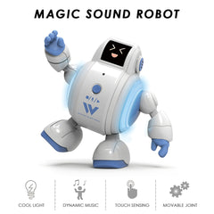 R07 Robots for Kids Interactive Robot Toys Touch Sensing Singing Robot with Emotion LED Light