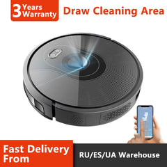 ABIR Robot Vacuum Cleaner X6,Camera Navigation,Wifi App,Map Display,Remote Upgrade,Hand Draw Virtual Blocker,Electric Water tank