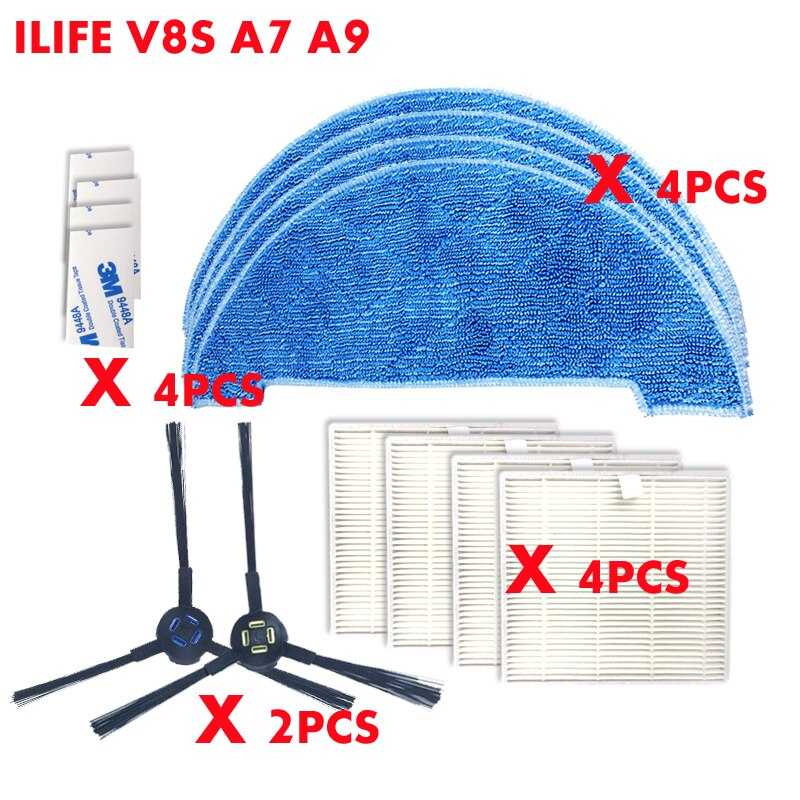 14 PCS Robot vacuum cleaner side brush HEPA cleaning cloth kit for ILIFE V8S A7 A9 as seen on tv  dust cleaning sweeper parts