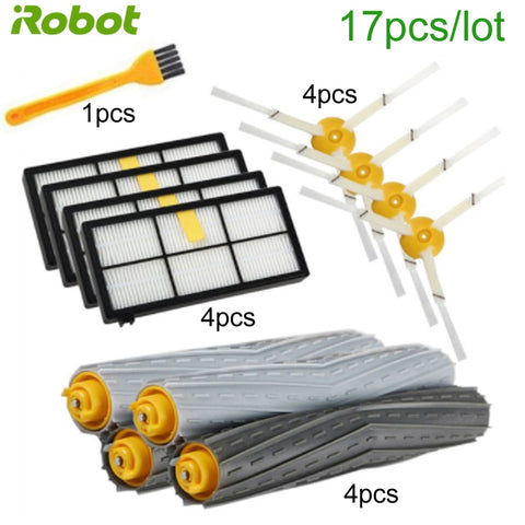 17PCS Robot vacuum cleaner HEPA filter side brush roller spare parts kit for iRobot Roomba 900, 800 series  iRobot part