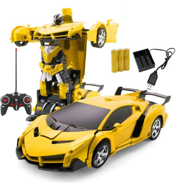 Car Transformation Robots Sports Vehicle Model Robots Toys Wireless Charging Cool Deformation Car With Battery RC Model Toy