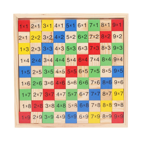 Wooden Digital Board Multiplication Table Educational Math Toys Dominoes Children Preschool Teaching Counting and Stacking Board