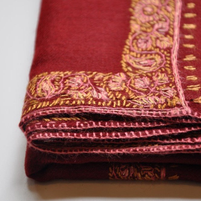 PASHMINA SCARF RED (PLAIN WITH BORDER)