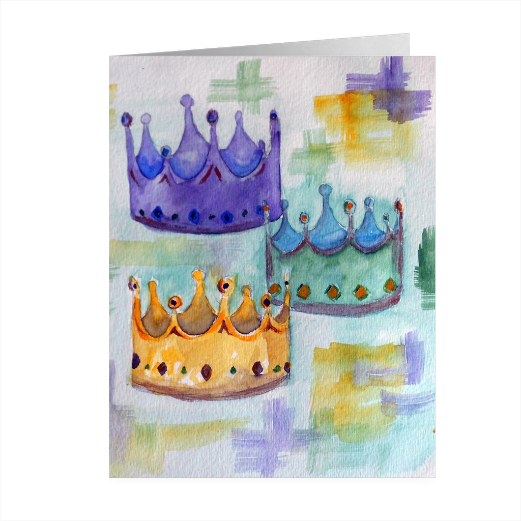 """Mardi Gras Crown"" 4.5 x 5 Folded Cards - Marina's Watercolors"