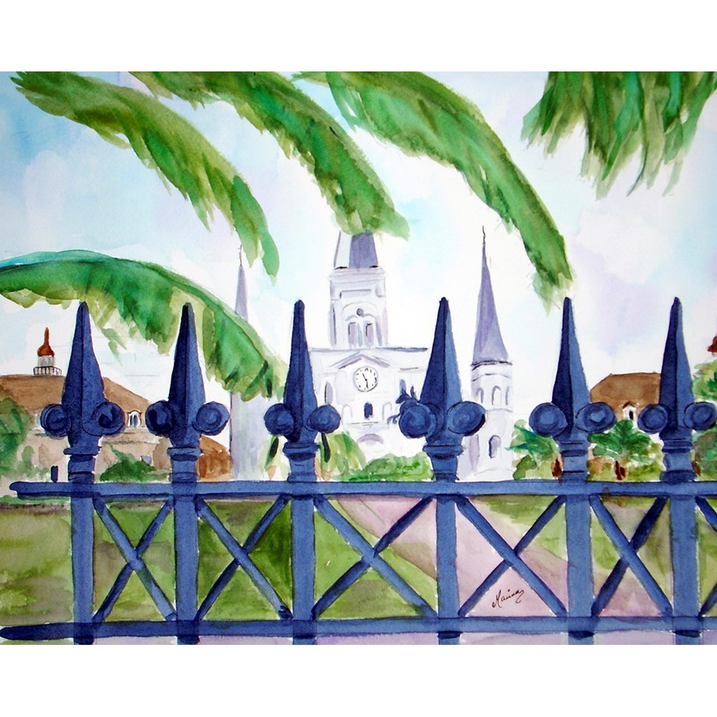 """Cathedral Thru Fence"" Print - Marina's Watercolors"