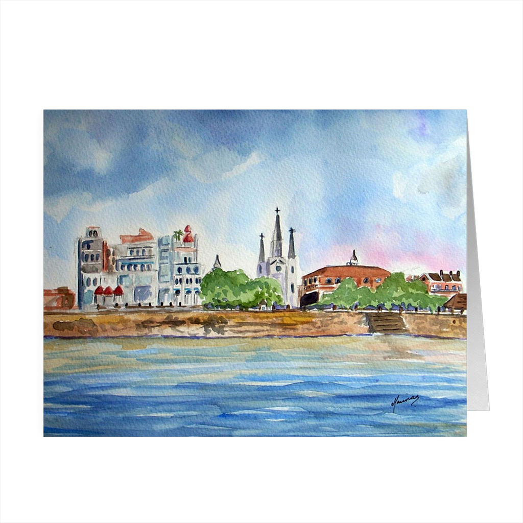 """Riverfront"" 4.5 x 5 Folded Cards - Marina's Watercolors"