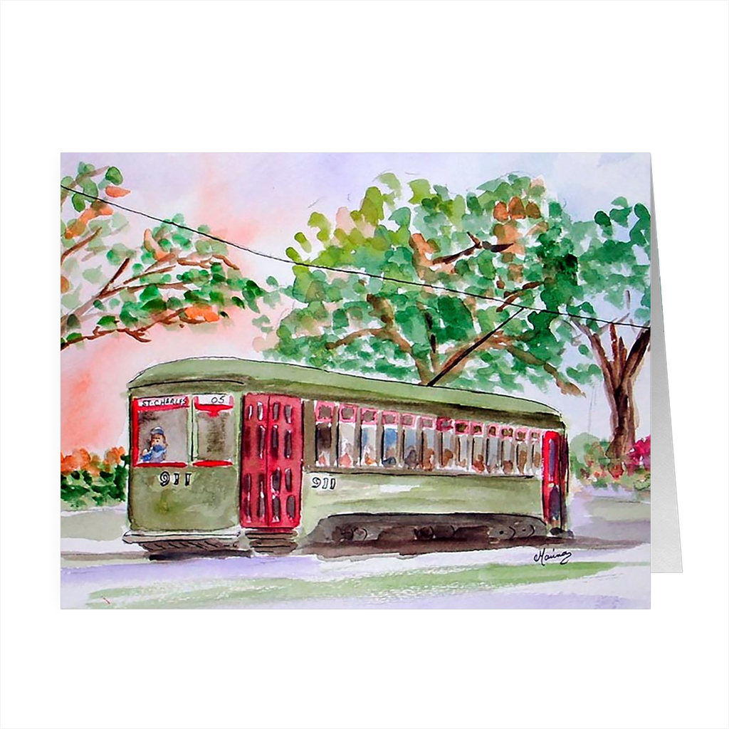 """New Orleans Streetcar"" 4.5 x 5 Folded Cards - Marina's Watercolors"