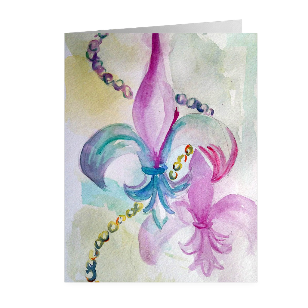 """Mardi Gras Fleur"" 4.5 x 5 Folded Cards - Marina's Watercolors"