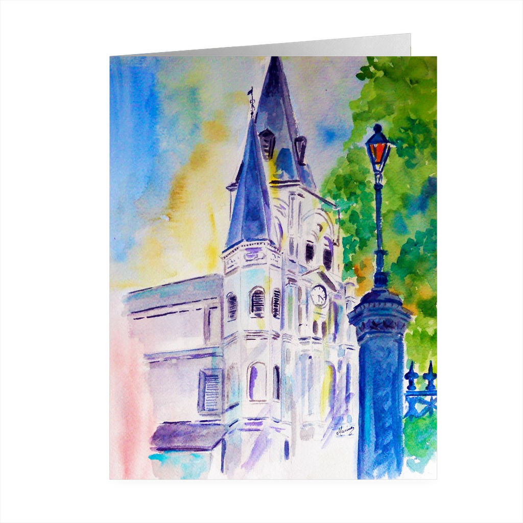 """Cathedral Thru Light"" 4.5 x 5 Folded Card - Marina's Watercolors"