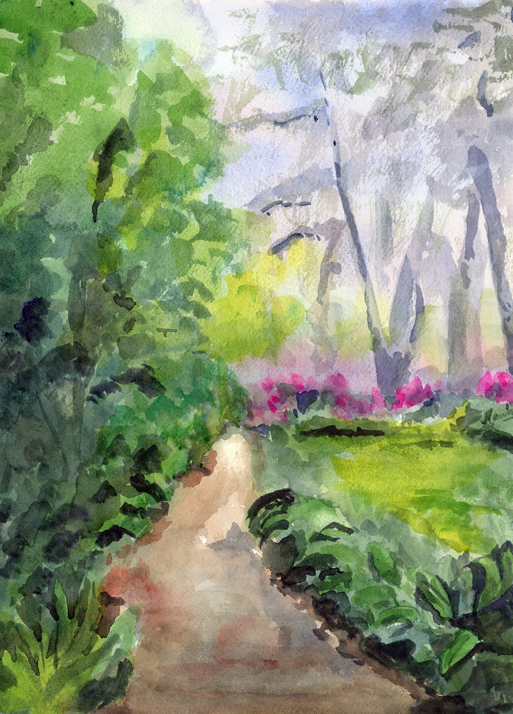A Walk in Shadows on Teche - Original Watercolor - Marina's Watercolors