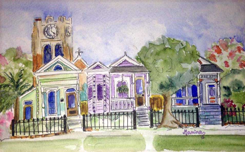Charming Little Neighborhood - Marina's Watercolors