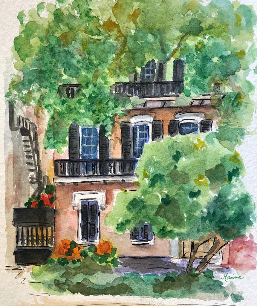 Behind the Trees - Original Watercolor - Marina's Watercolors