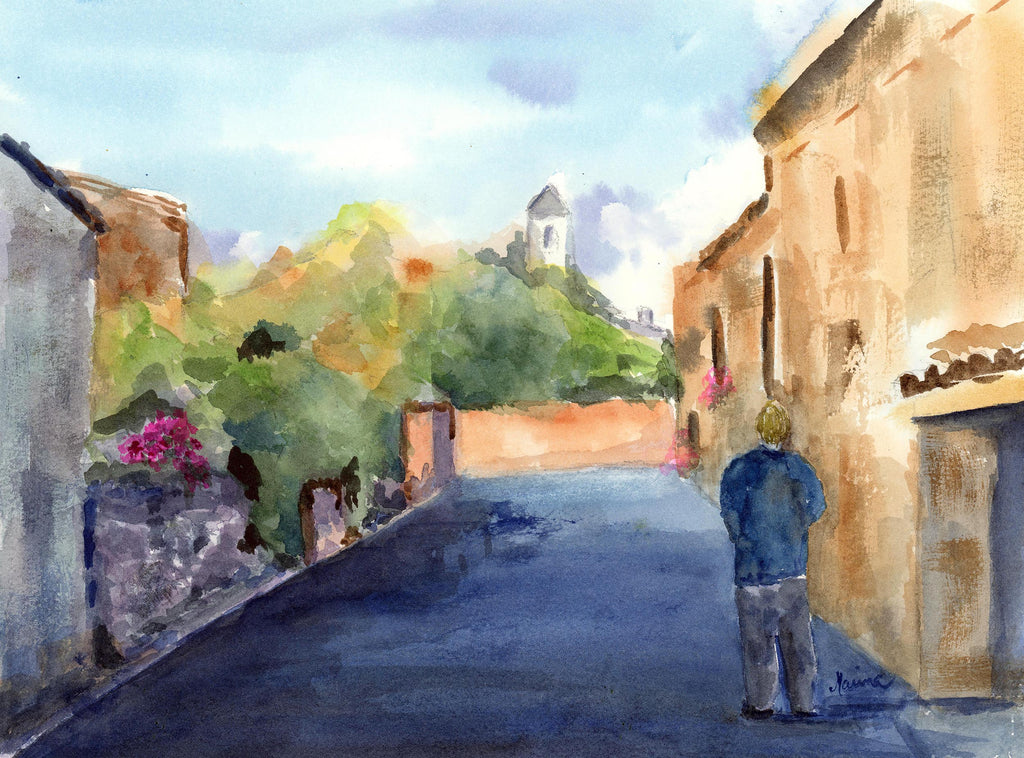 Early Morning Walk in Provence - Original Watercolor - Marina's Watercolors