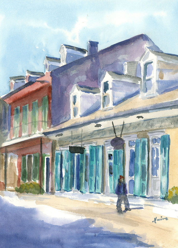 Early Morning Walk on Royal street - Original Watercolor - Marina's Watercolors