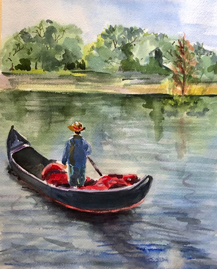 City Park Gondolier - Marina's Watercolors