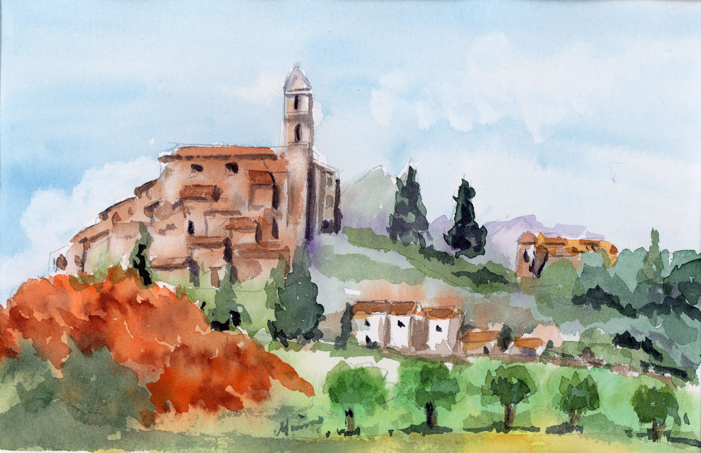 """Medieval Village"" - Original Watercolor - Marina's Watercolors"