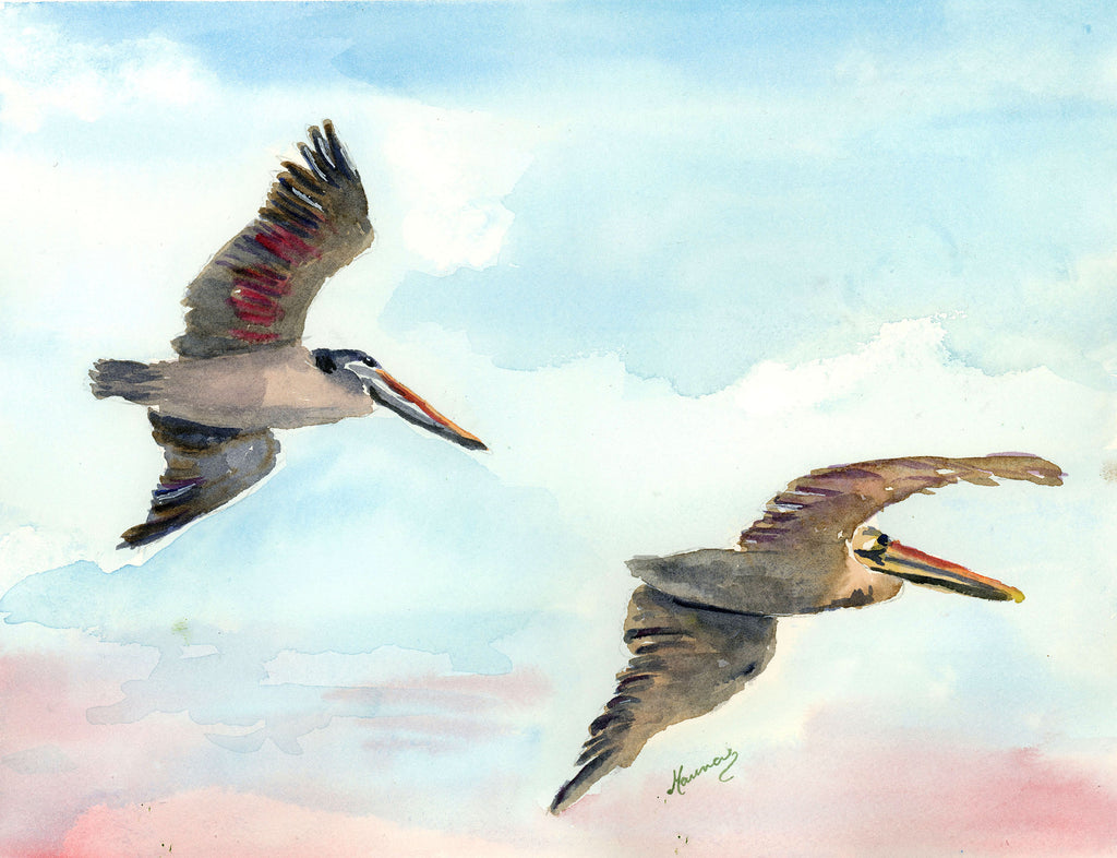 Sunset Pelicans - Original Watercolor - Marina's Watercolors