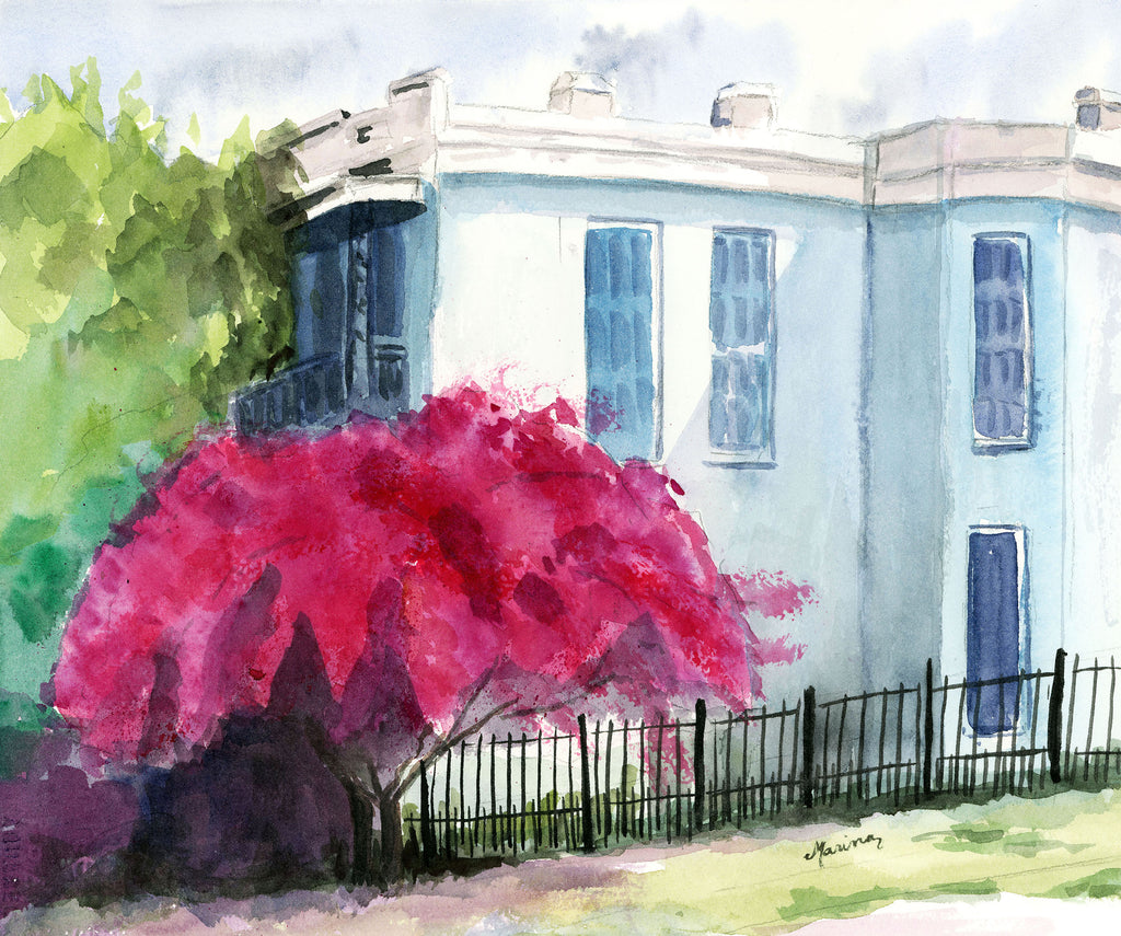 Splendor on Magazine Street - Original Watercolor - Marina's Watercolors