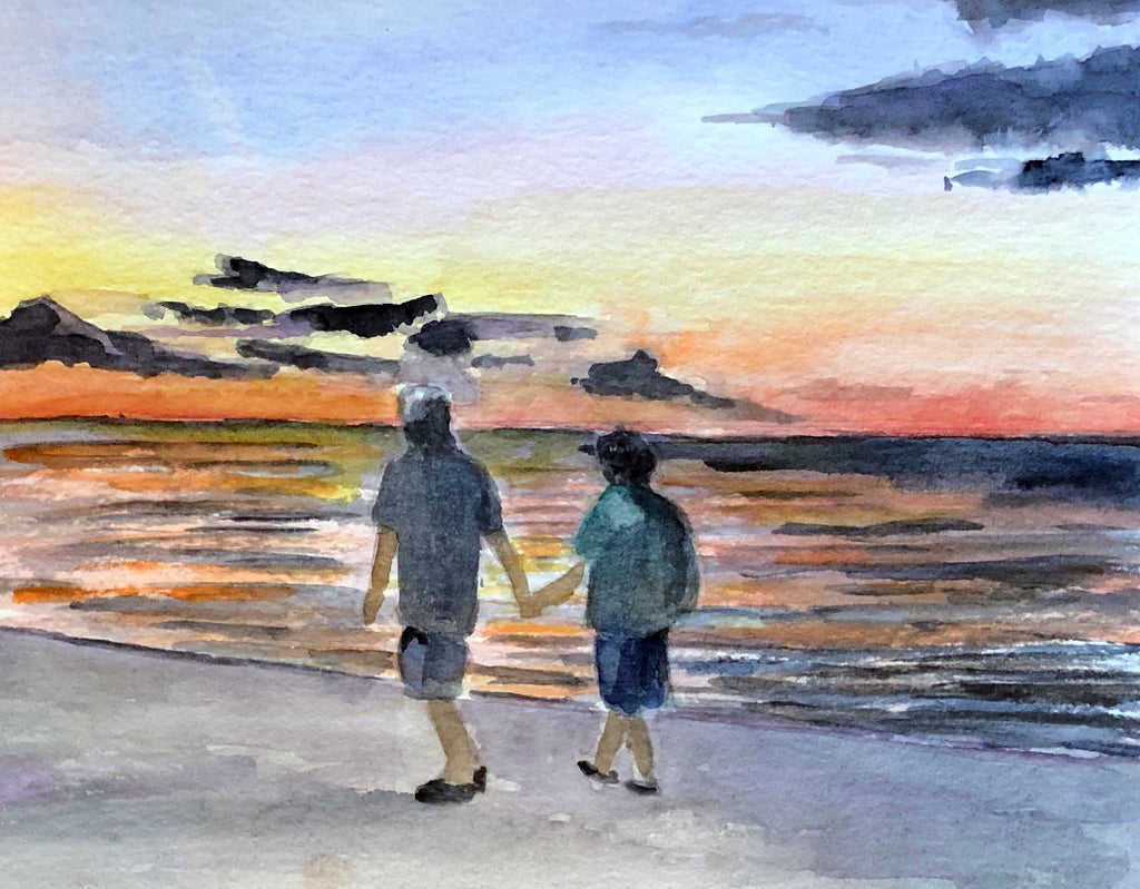 Sunset At the Lakefront - Original Watercolor - Marina's Watercolors