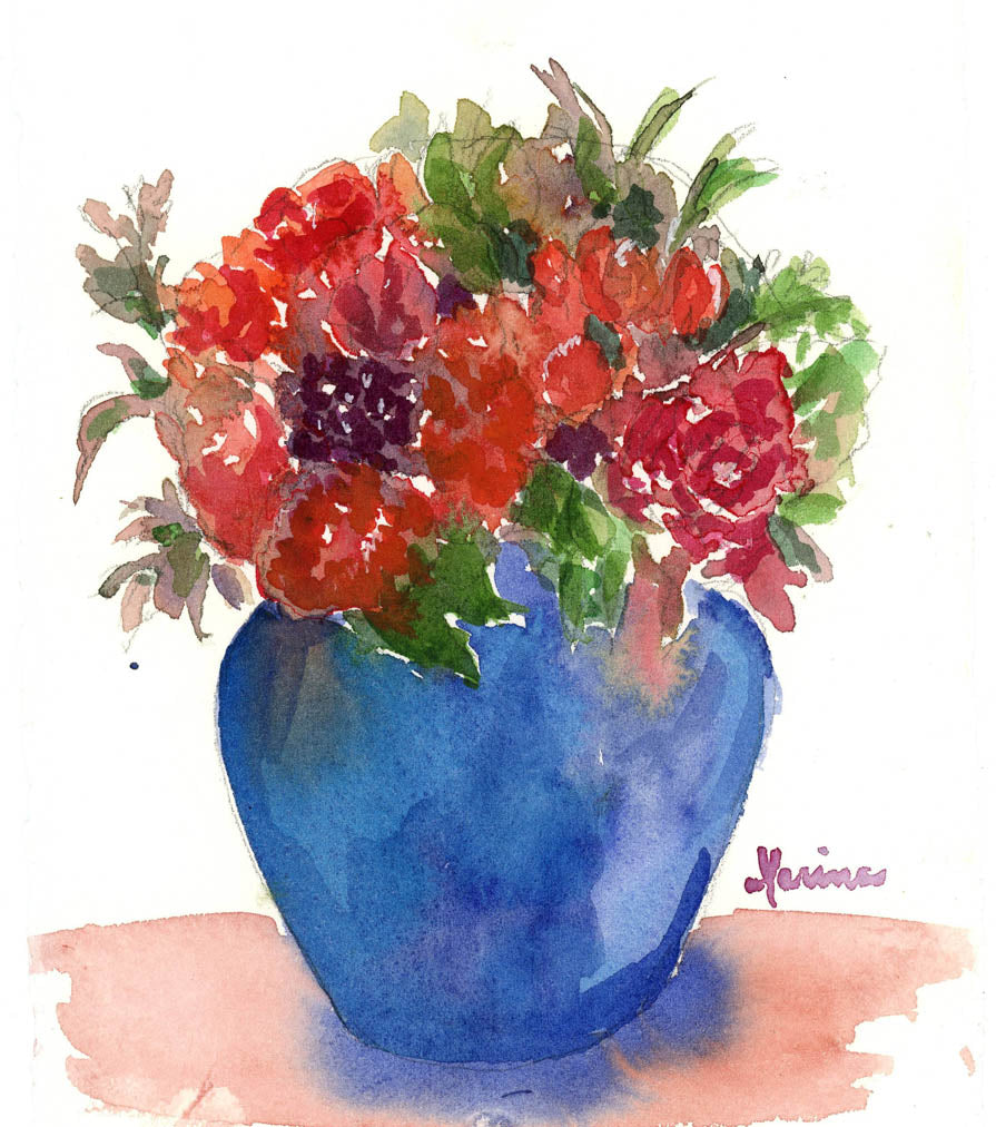 Wedding Flowers - Original Watercolor - Marina's Watercolors