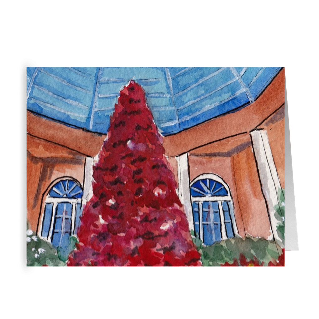 """Poinsetta Tree - Botanical Garden"" 4.5 x 5 Folded Cards"
