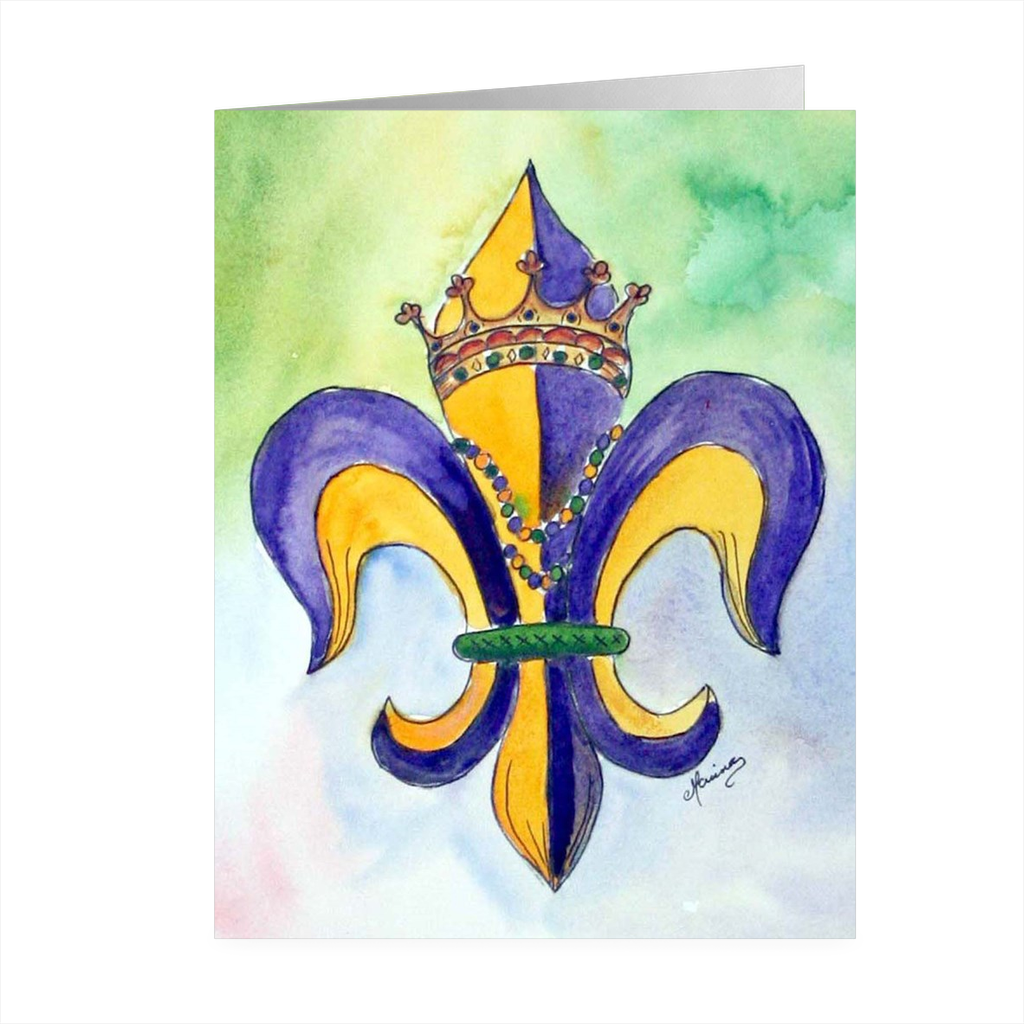 """Mardi Gras"" 4.5 x 5 Folded Cards - Marina's Watercolors"