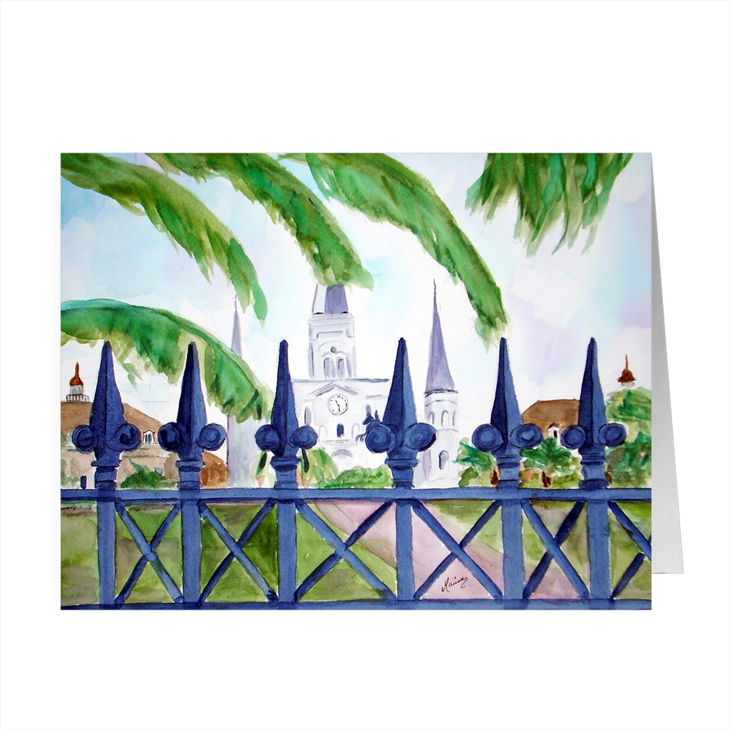 """Cathedral Thru Fence"" 4.5 x 5 Folded Cards - Marina's Watercolors"